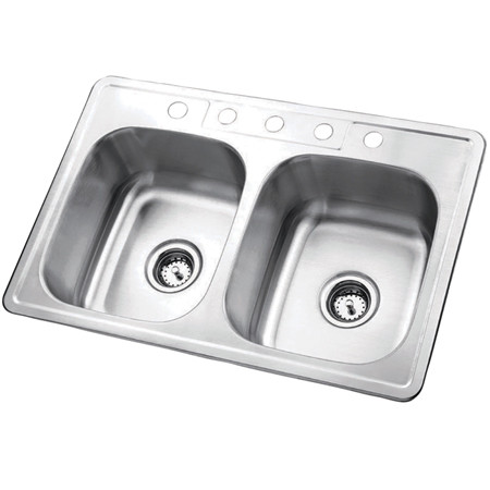 Gourmetier GKTD332285 Self Rimming Double Bowl Sink in Satin Nickel