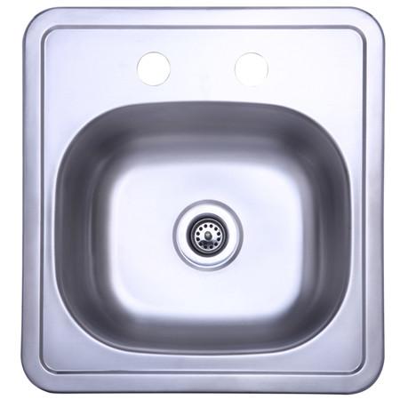 Gourmetier GKTS1515 Self-Rimming Single Bowl Bar Sink in Satin Nickel