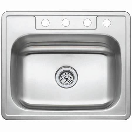 Gourmetier GKTS25227 Self Rimming Single Bowl Sink in Satin Nickel