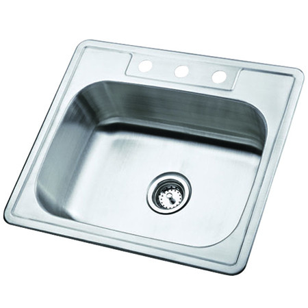Gourmetier GKTS252283 Self Rimming Single Bowl Sink in Satin Nickel