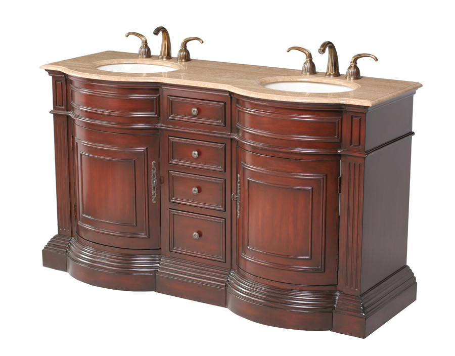 Stufurhome GM-3211-62-TR Dark Cherry Finish Double Vanity