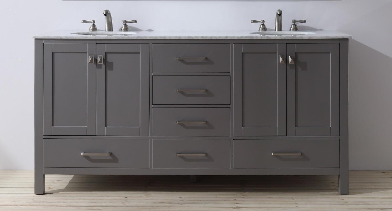Stufurhome GM-6412-72GY-CR-NM Malibu Grey Double Sink Bathroom Vanity