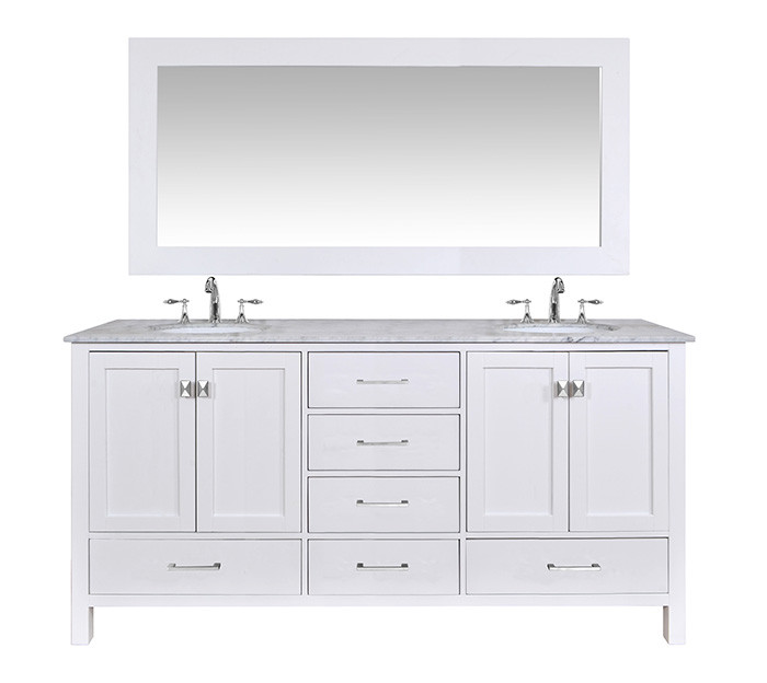 """Stufurhome GM-6412-72PW-CR-M71 72"""" Pure White Double Vanity With 71"""" Mirror"""