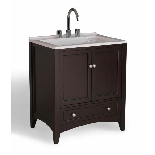 Stufurhome GM-Y01E-24 Espresso Solid Wood Laundry Utility Sink Bath Vanity