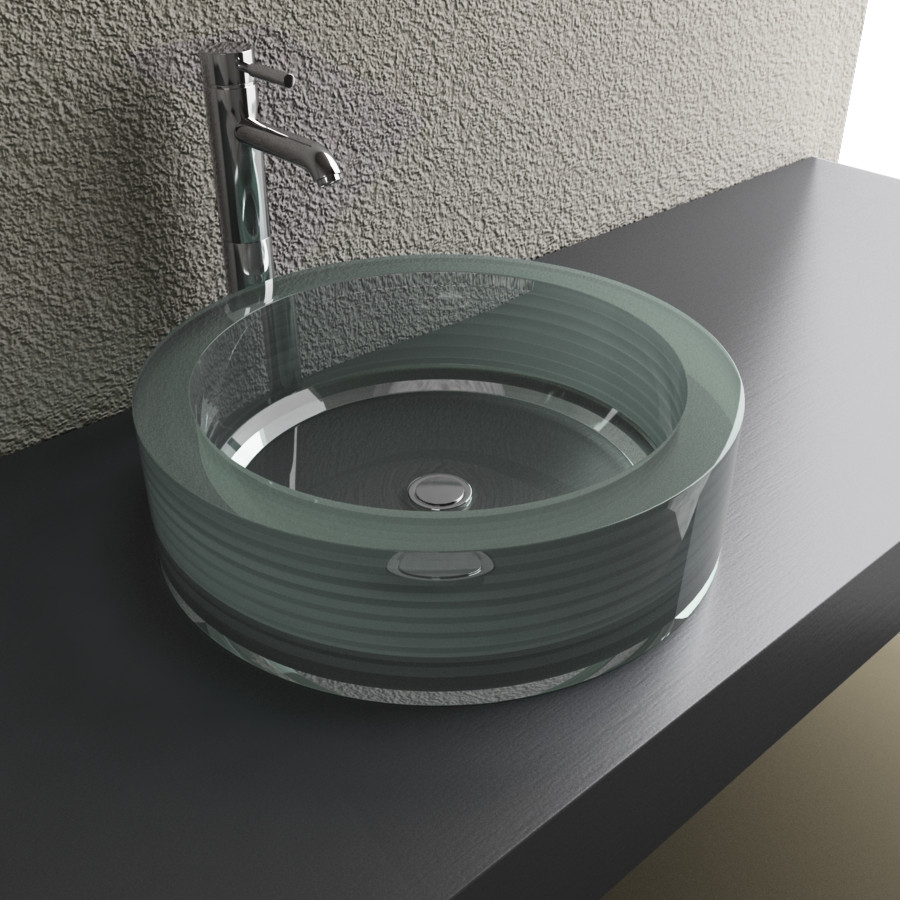 Cantrio Koncepts GS-112 Crystal Layered and Fused Round Glass Vessel Sink