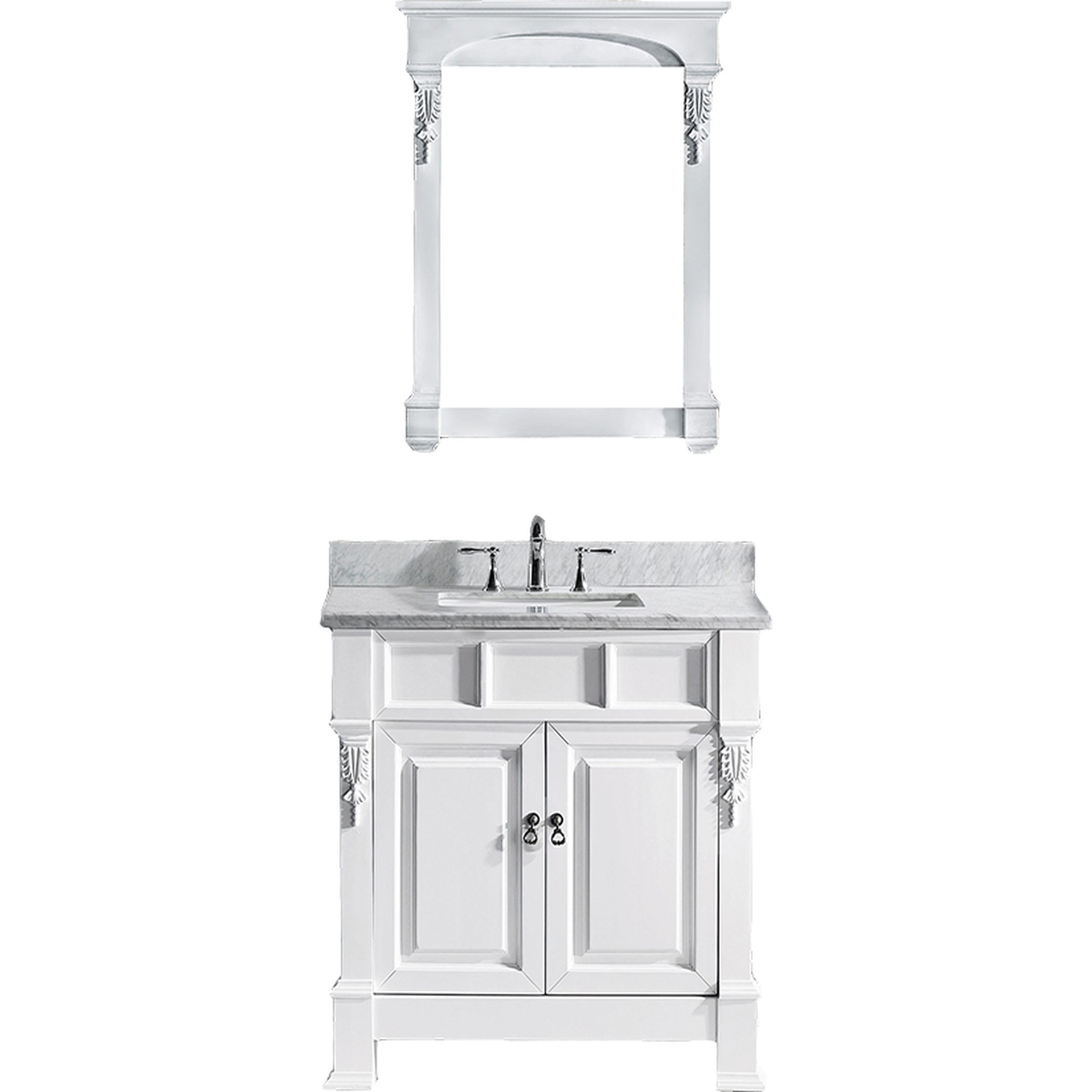 Virtu GS-4036-WMSQ-WH-002 Huntshire 36 Inch Single Bathroom Vanity Set In White