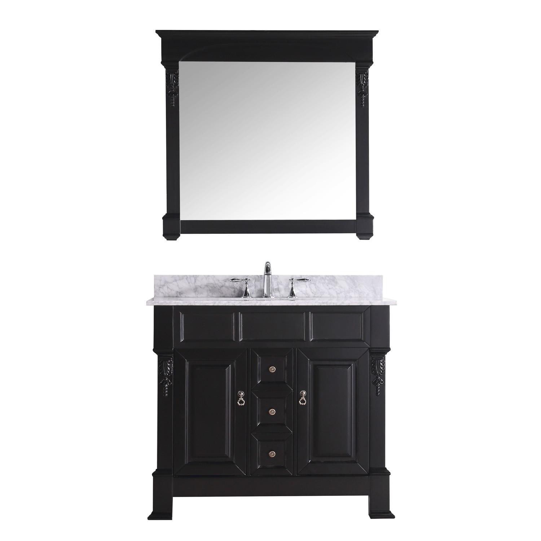 Virtu GS-4040-WMRO-DW Huntshire 40 Inch Single Bathroom Vanity Set In Dark Walnut