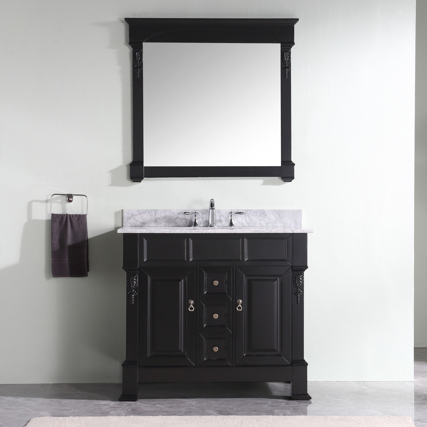 Virtu GS-4040-WMRO-DW-001 Huntshire 40 Inch Single Bathroom Vanity Set In Dark Walnut