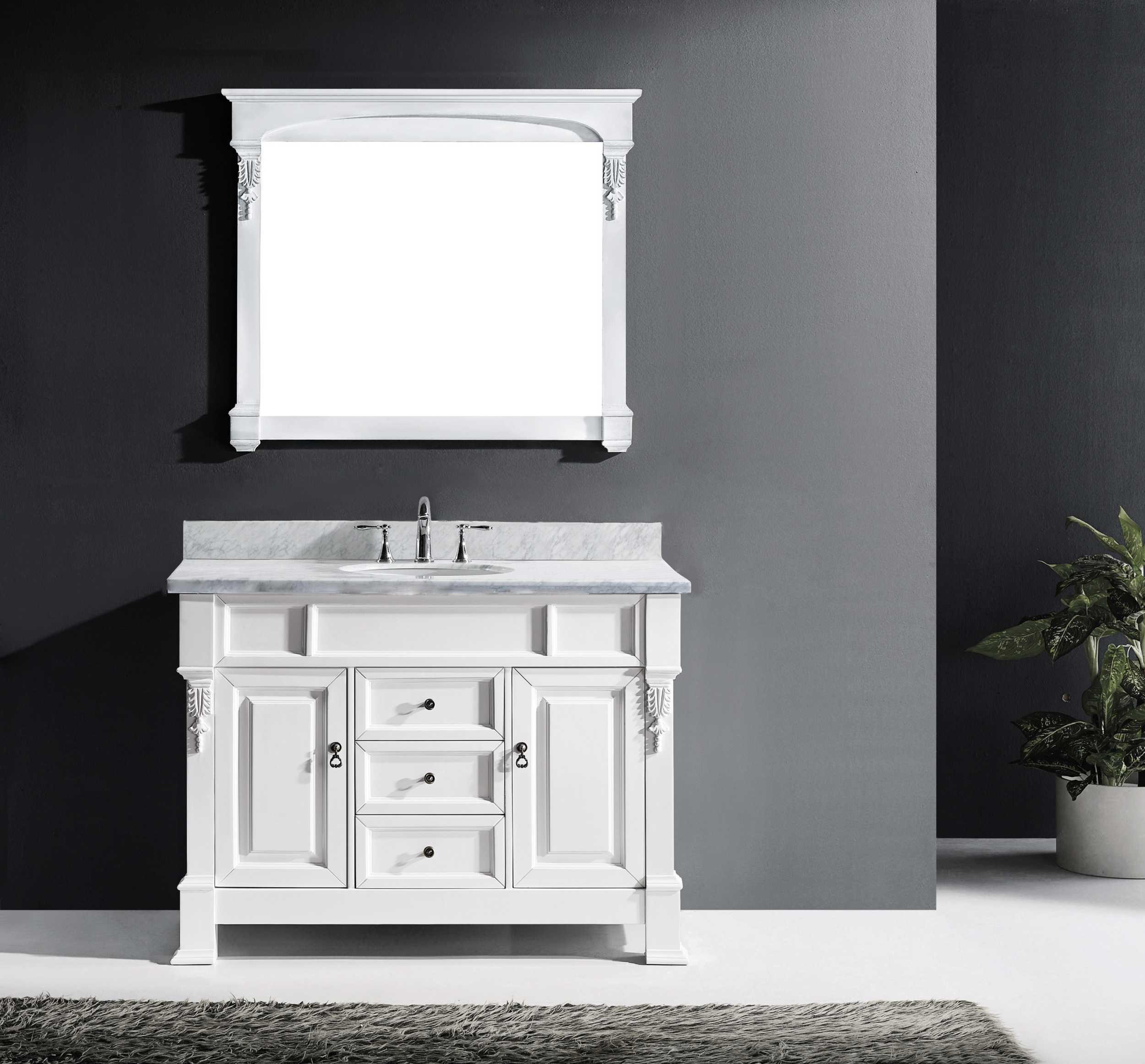 Virtu GS-4048-WMRO-WH Huntshire 48 Inch Single Bathroom Vanity Set In White