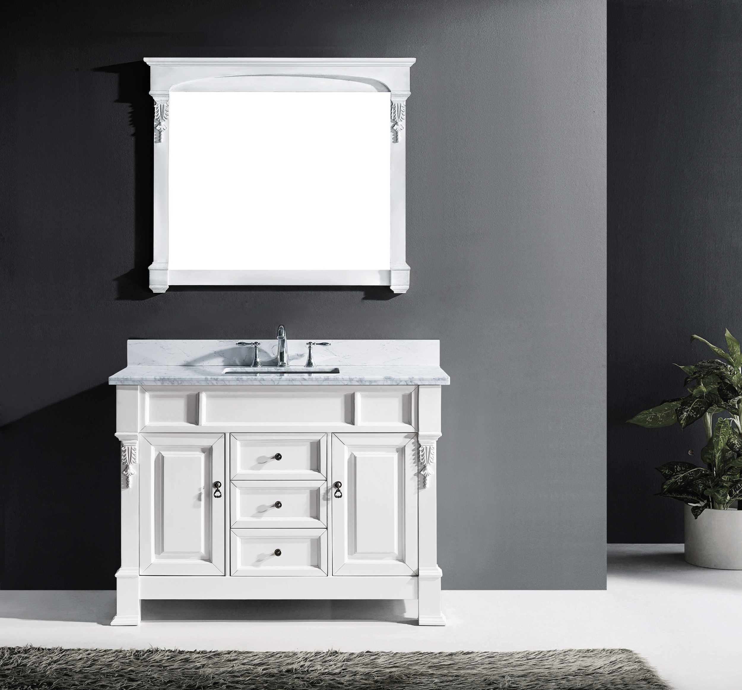 Virtu GS-4048-WMSQ-WH-002 Huntshire 48 Inch Single Bathroom Vanity Set In White