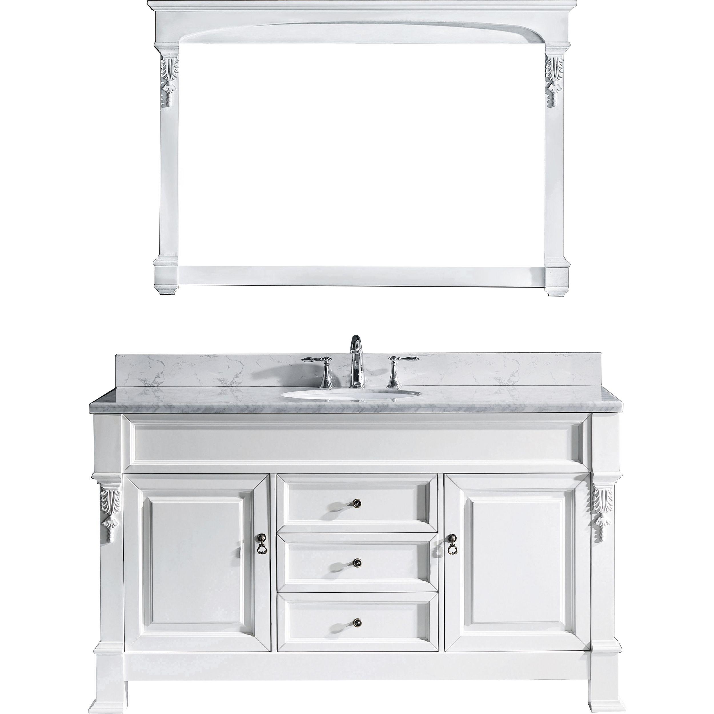 Virtu GS-4060-WMRO-WH-002 Huntshire 60 Inch Single Bathroom Vanity Set In White