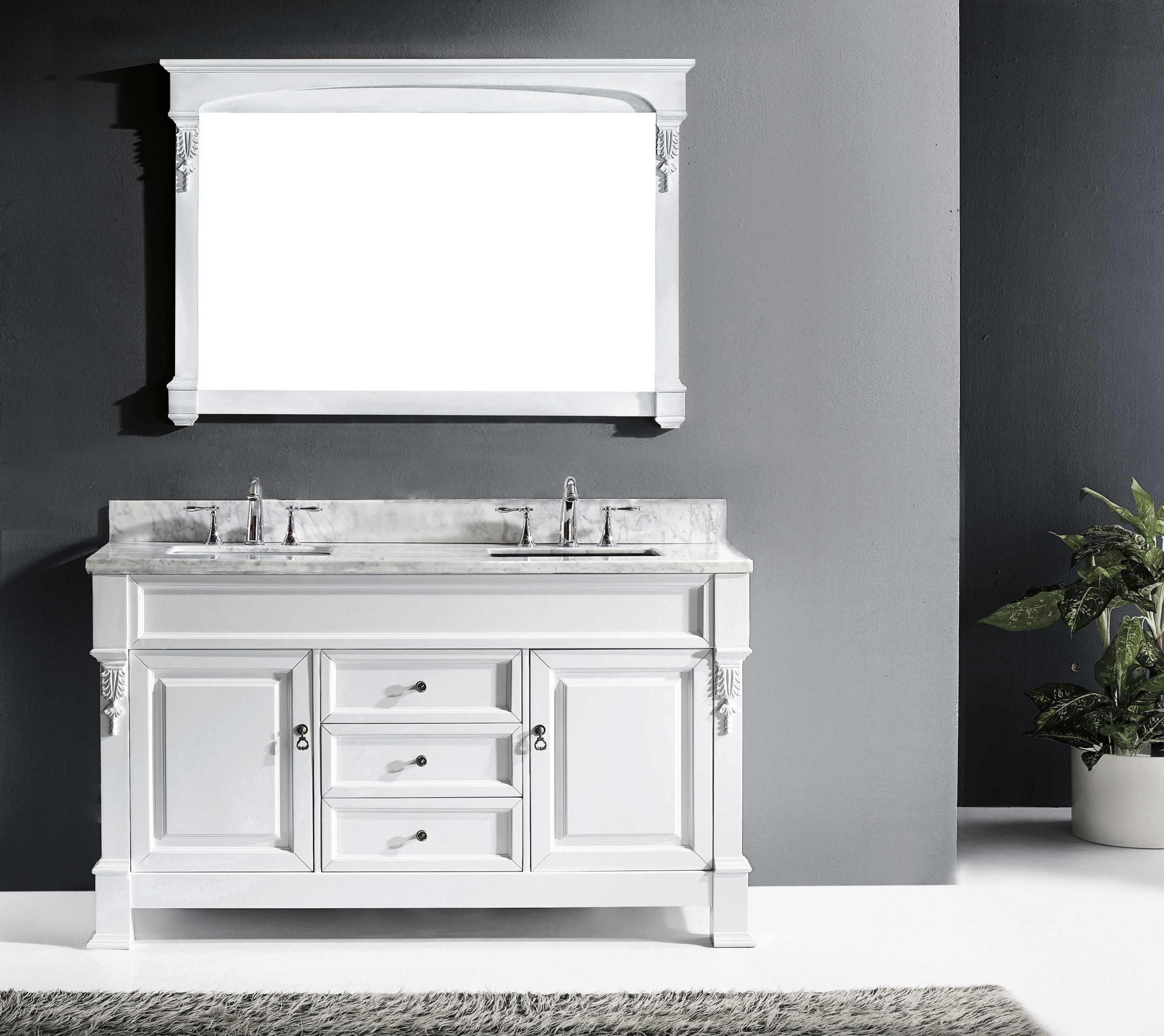 Virtu GS-4060-WMSQ-WH-002 Huntshire 60 Inch Single Bathroom Vanity Set In White