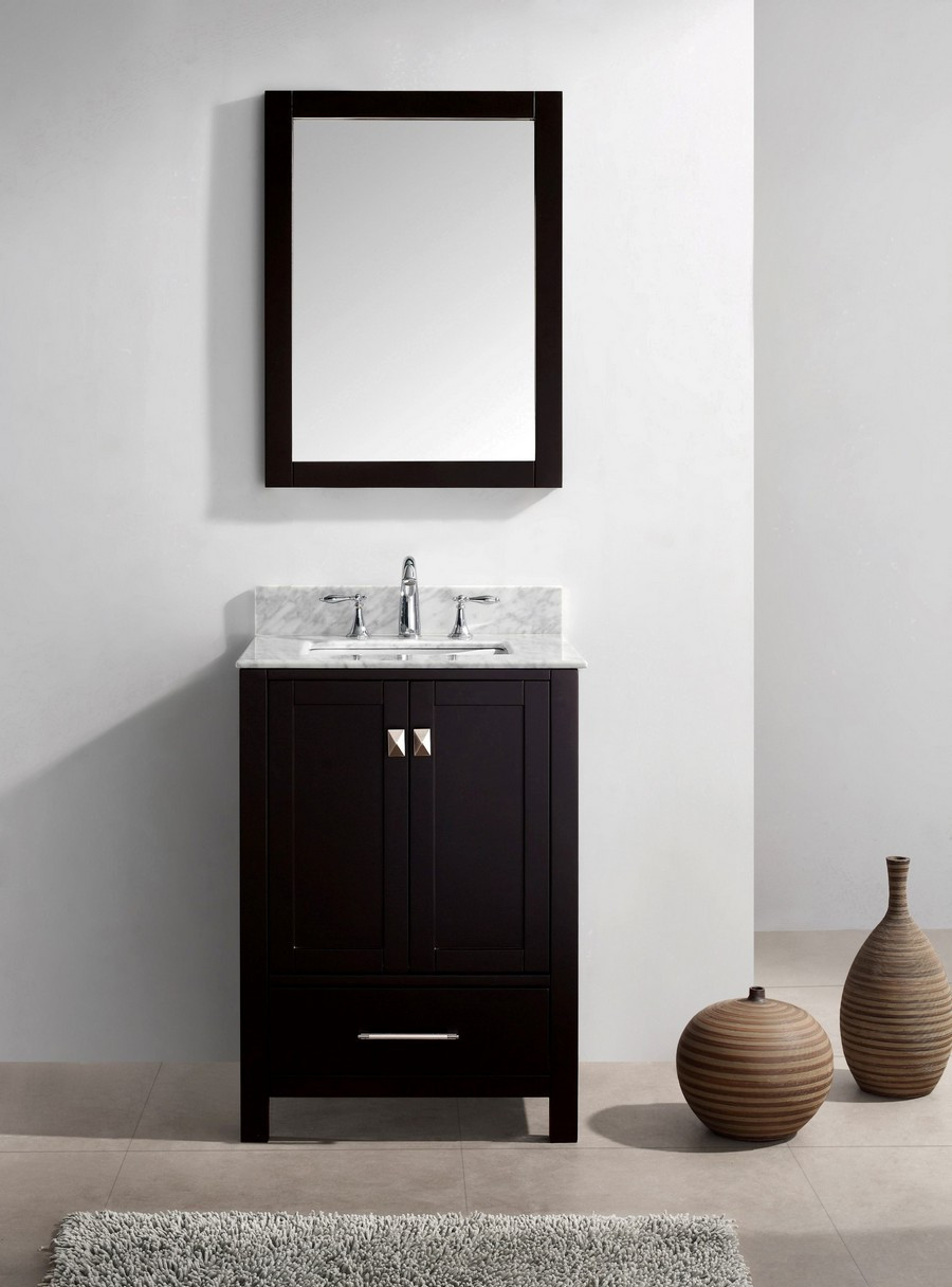Virtu GS-50024-WMSQ-ES-002 24 Inch Square Sink Wood Vanity with Faucet