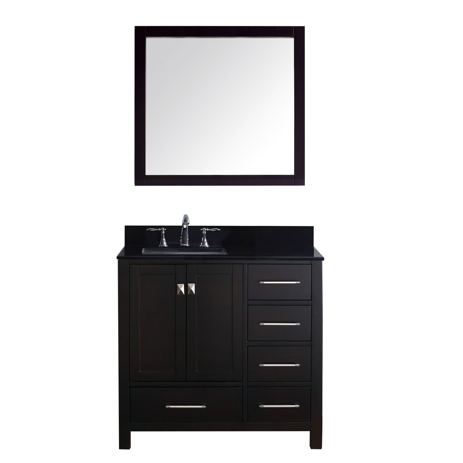 Virtu GS-50036-BGSQ-ES Caroline Avenue 36 Inch Single Bathroom Vanity Set In Espresso