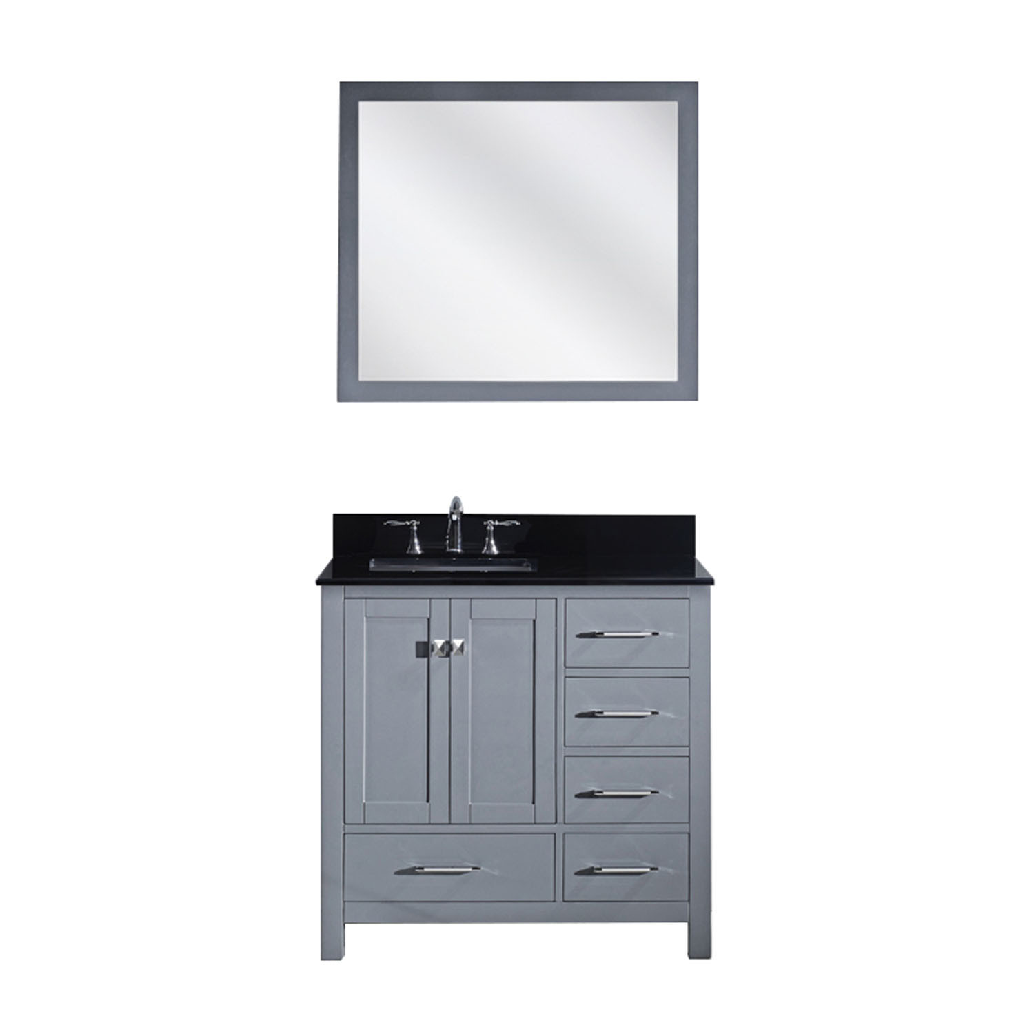 Virtu GS-50036-BGSQ-GR-001 Caroline Avenue 36 Inch Single Bathroom Vanity Set In Grey