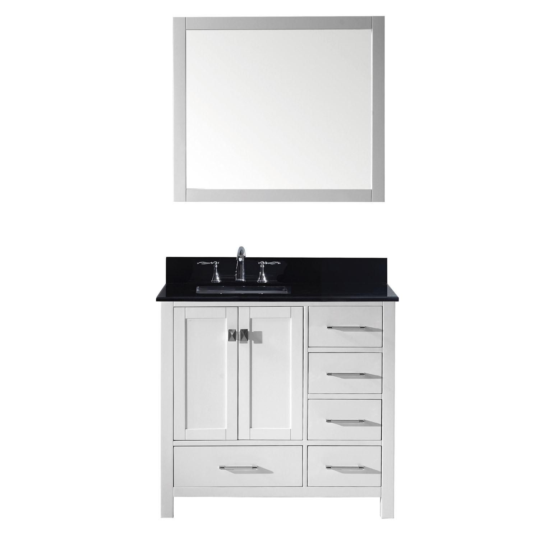 Virtu GS-50036-BGSQ-WH-002 Caroline Avenue 36 Inch Single Bathroom Vanity Set In White