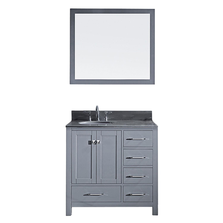 Virtu GS-50036-GQRO-GR-001 Caroline Avenue 36 Inch Single Bathroom Vanity Set In Grey