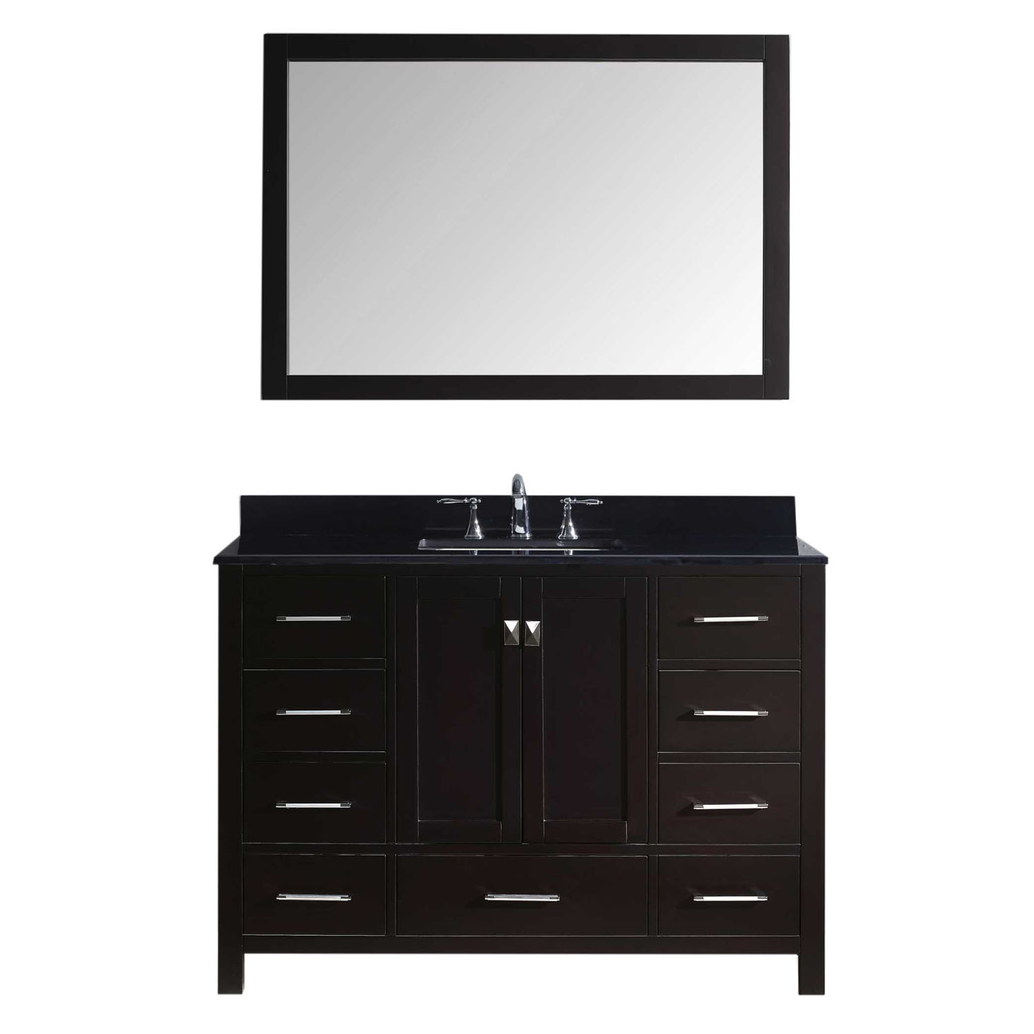 Virtu GS-50048-BGSQ-ES-001 Caroline Avenue 48 Inch Single Bathroom Vanity Set In Espresso