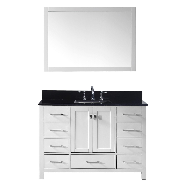 Virtu GS-50048-BGSQ-WH Caroline Avenue 48 Inch Single Bathroom Vanity Set In White