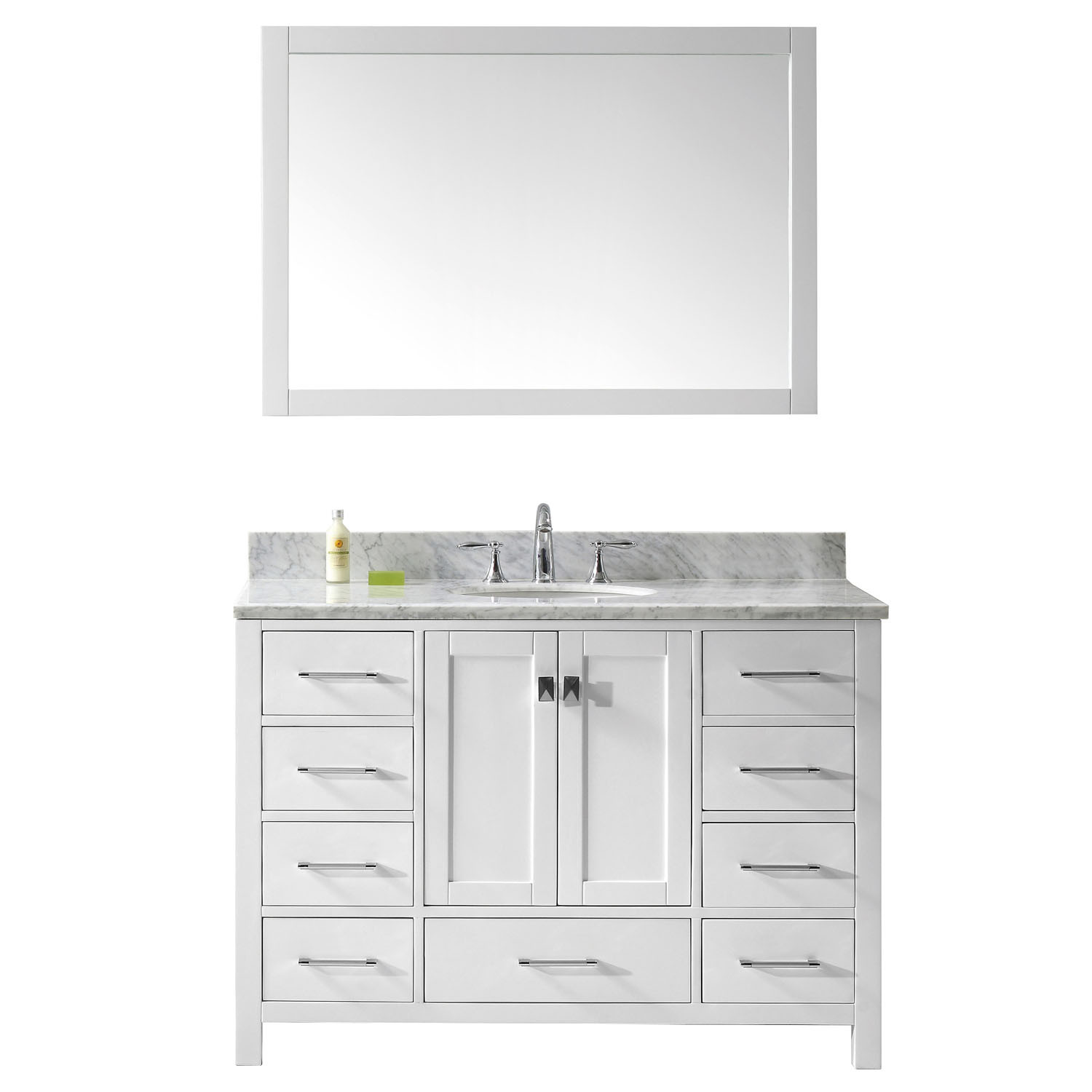 Virtu GS-50048-GQRO-WH Caroline Avenue 48 Inch Single Bathroom Vanity Set In White (Image shown with Marble Top)