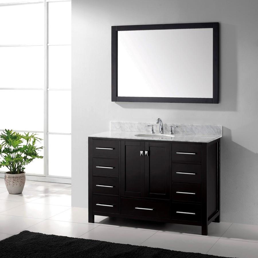 """Virtu GS-50048-WMRO-ES-001 48"""" Bathroom Oak Wood Vanity-Carrara Marble"""