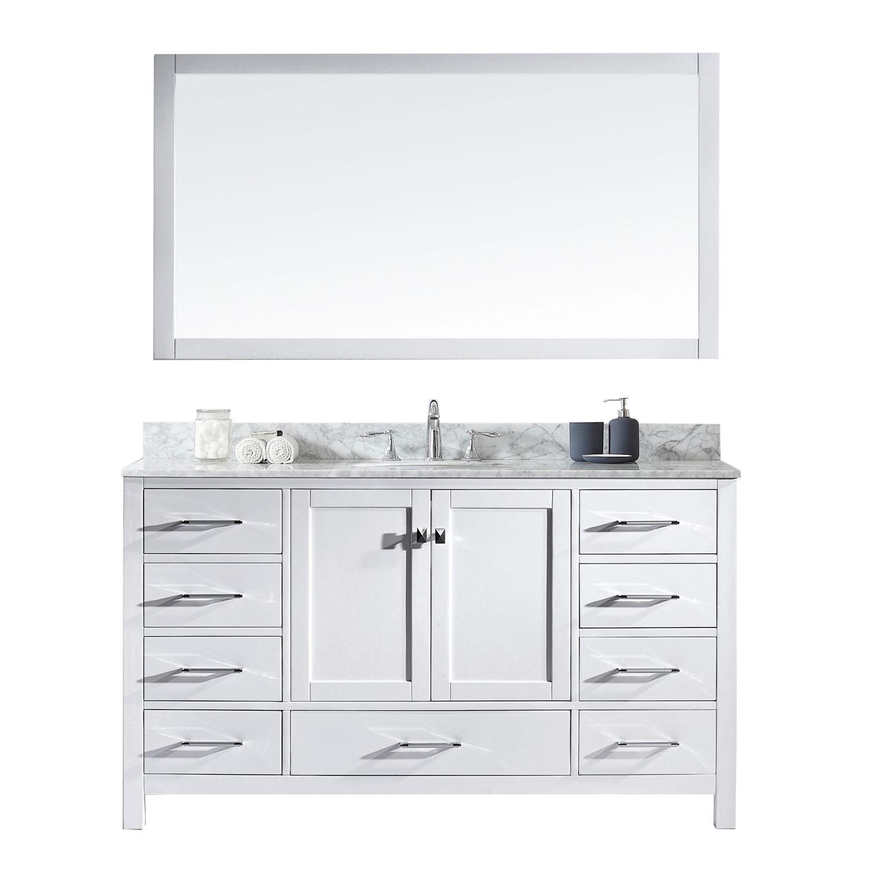 Virtu GS-50060-WMRO-WH Caroline Avenue 60 Inch Single Bathroom Vanity Set In White