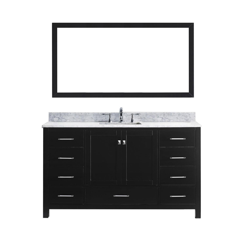Virtu GS-50060-WMSQ-ES Caroline Avenue 60 Inch Single Bathroom Vanity Set In Espresso