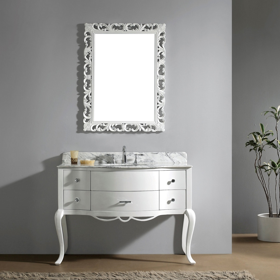 Virtu GS-6148-WM-WH-001 White Single Sink Vanity with Faucet and Mirror