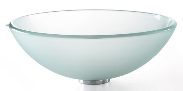 Kraus GV-101FR Frosted Tempered Glass Vessel Sink with PU-MR Chrome