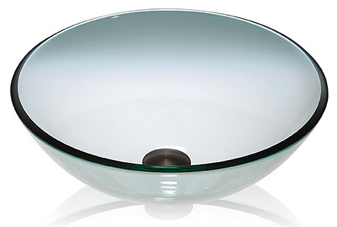 Lenova GV01 Clear Glass Round Vessel Above Counter Top Bathroom Sink
