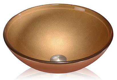 Lenova GV43 Round Bronze Glass Vessel Above Counter Bathroom Sink 16 X 16