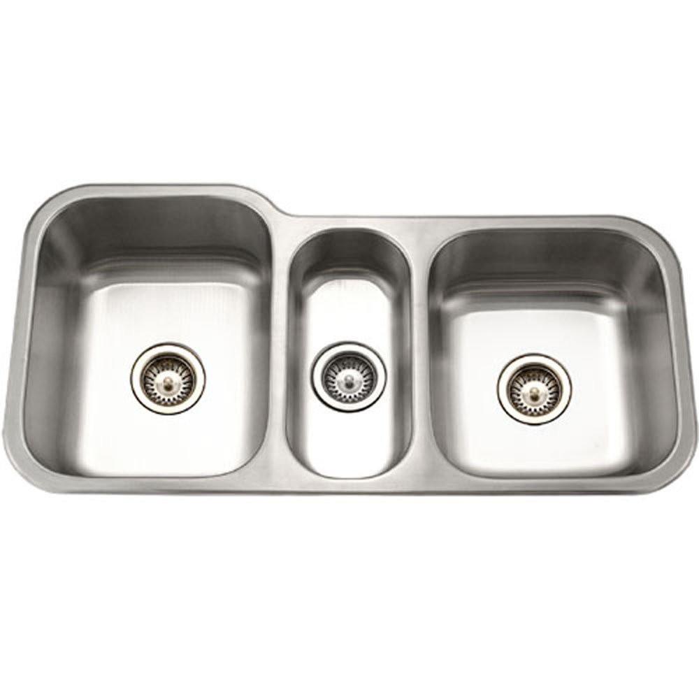 Houzer MGT-4120-1 Medallion Gourmet Undermount Stainless Steel Triple Bowl Kitchen Sink