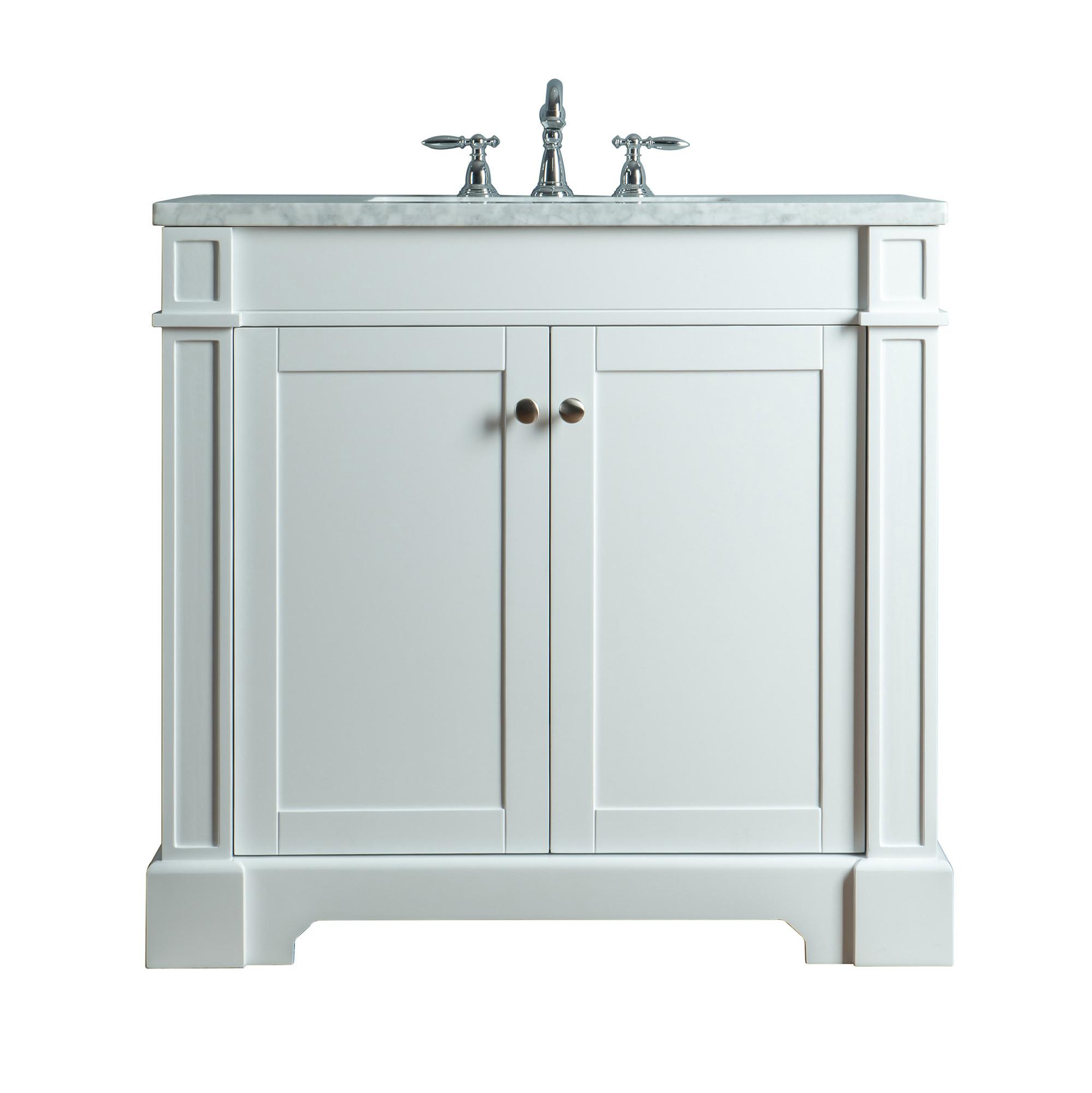 Stufurhome HD-1632W-36-CR White Seine Bathroom Vanity With Carrera Top