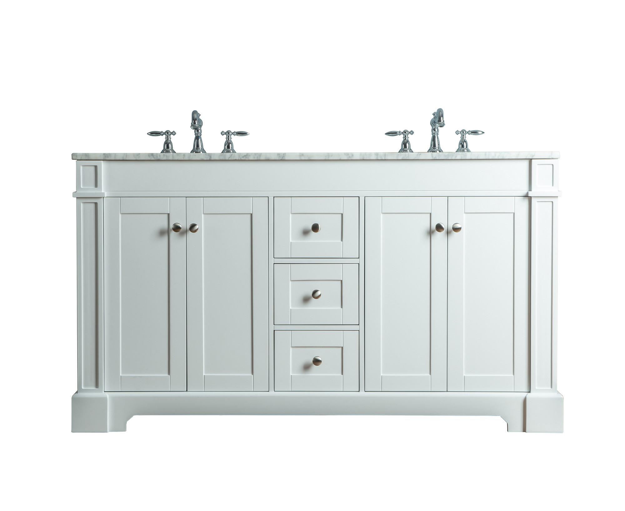 Stufurhome HD-1632W-60-CR Seine Double Sink Bathroom Vanity In White