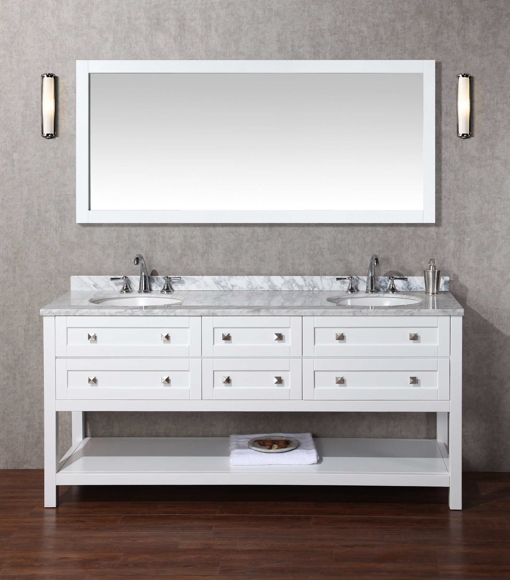 Stufurhome HD-6868W-72-CR Marla Double Sink Bathroom Vanity with Mirror