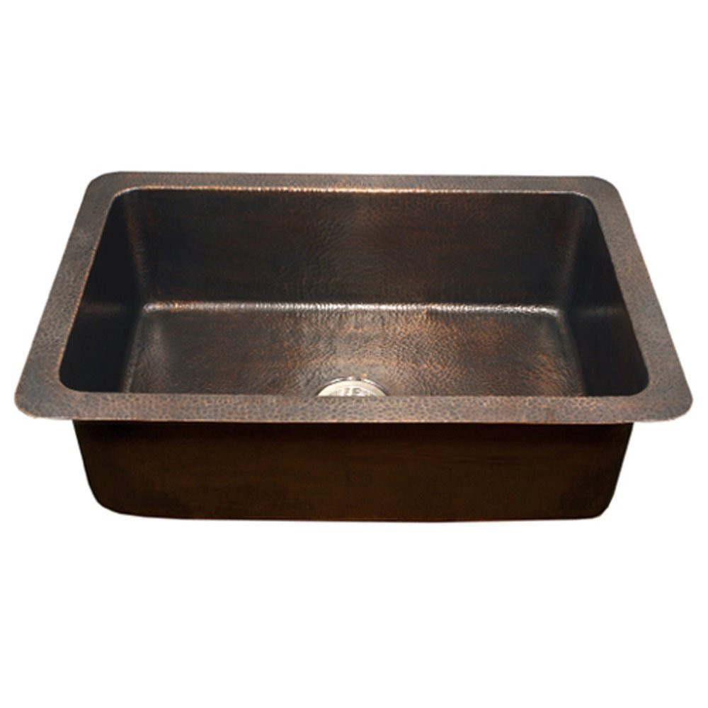Houzer HW-CHA11 Hammerwerks Series Undermount Copper Single Bowl Kitchen Sink In Antique Copper