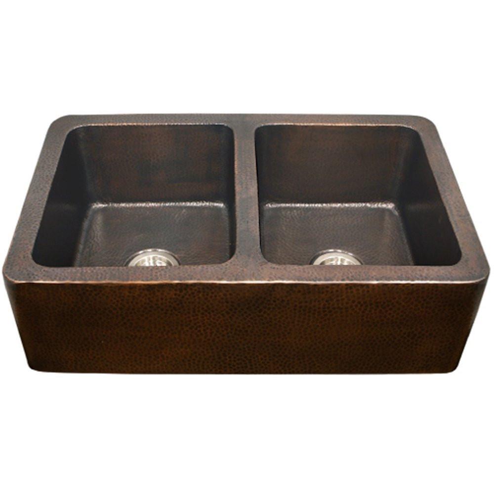 Houzer HW-COP12 Hammerwerks Series Apron Front Farmhouse Copper Kitchen Sink In Antique Copper