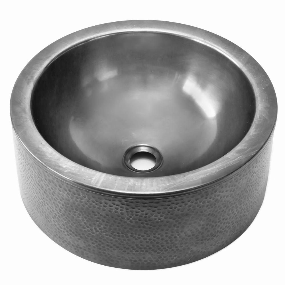 Houzer HW-DUJOUR15S Hammerwerks Series Pewter Round Vessel Sink with Apron