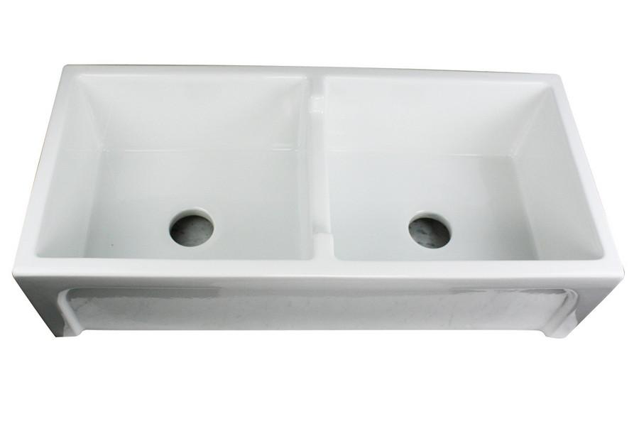Nantucket Sinks Hyannis-39-DBL White Fireclay Farmhouse 2 Bowl Kitchen Sink