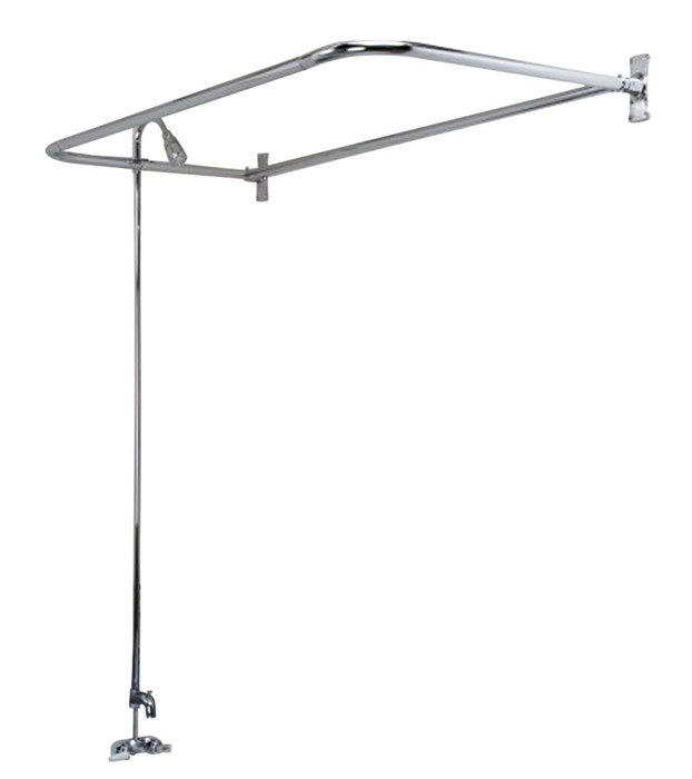 """Code Rectangular Shower Unit With 48"""" Rod Tub Fillers In Polished Chrome"""