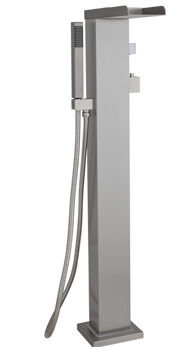Thermostatic Control Tub Filler With Hand Shower In Brushed Stainless Steel