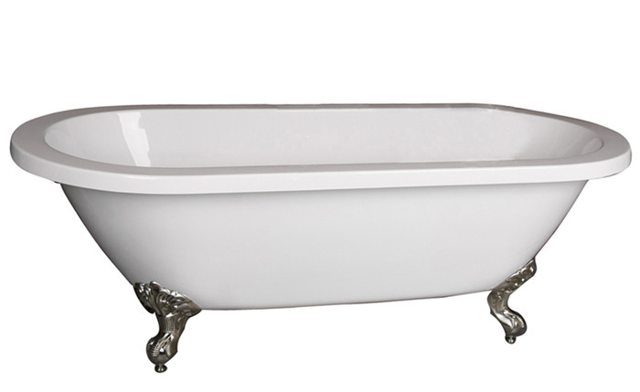 Acrylic Double Bathtub With Imperial Feet and No Faucet Holes