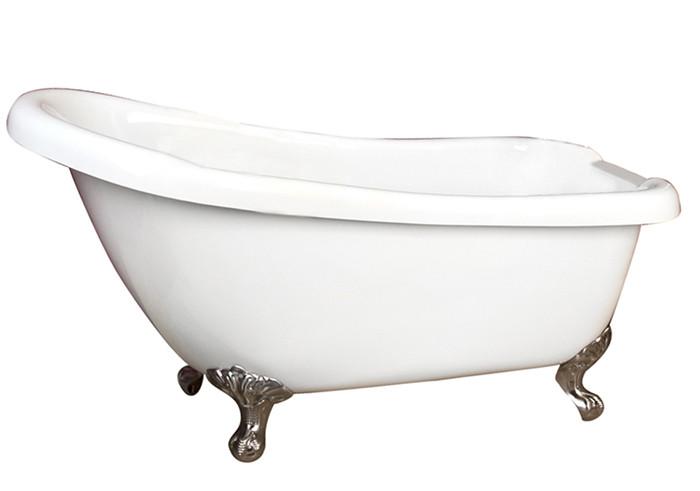 Acrylic Bathtub With 7 Inch Rim Holes Brushed Nickel Imperial Feet