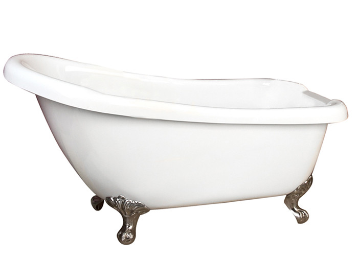 Acrylic Bathtub With  Imperial Feet and No Faucet Holes