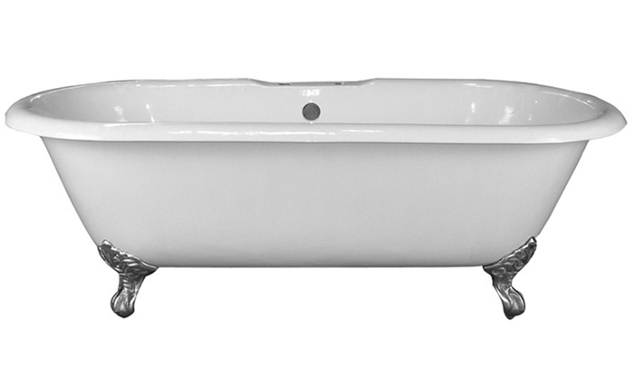 Cast Iron Double Bathtub With Imperial Feet and No Faucet Holes