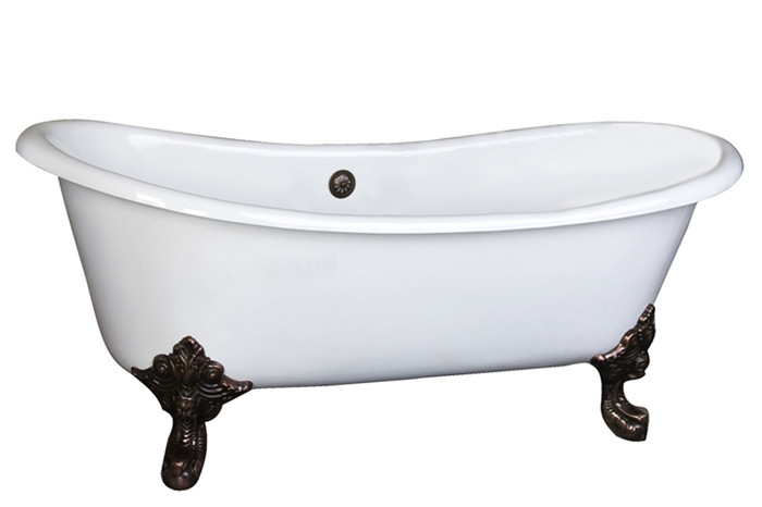 Cast Iron Bathtub With Regal Imperial Feet and No Faucet Holes