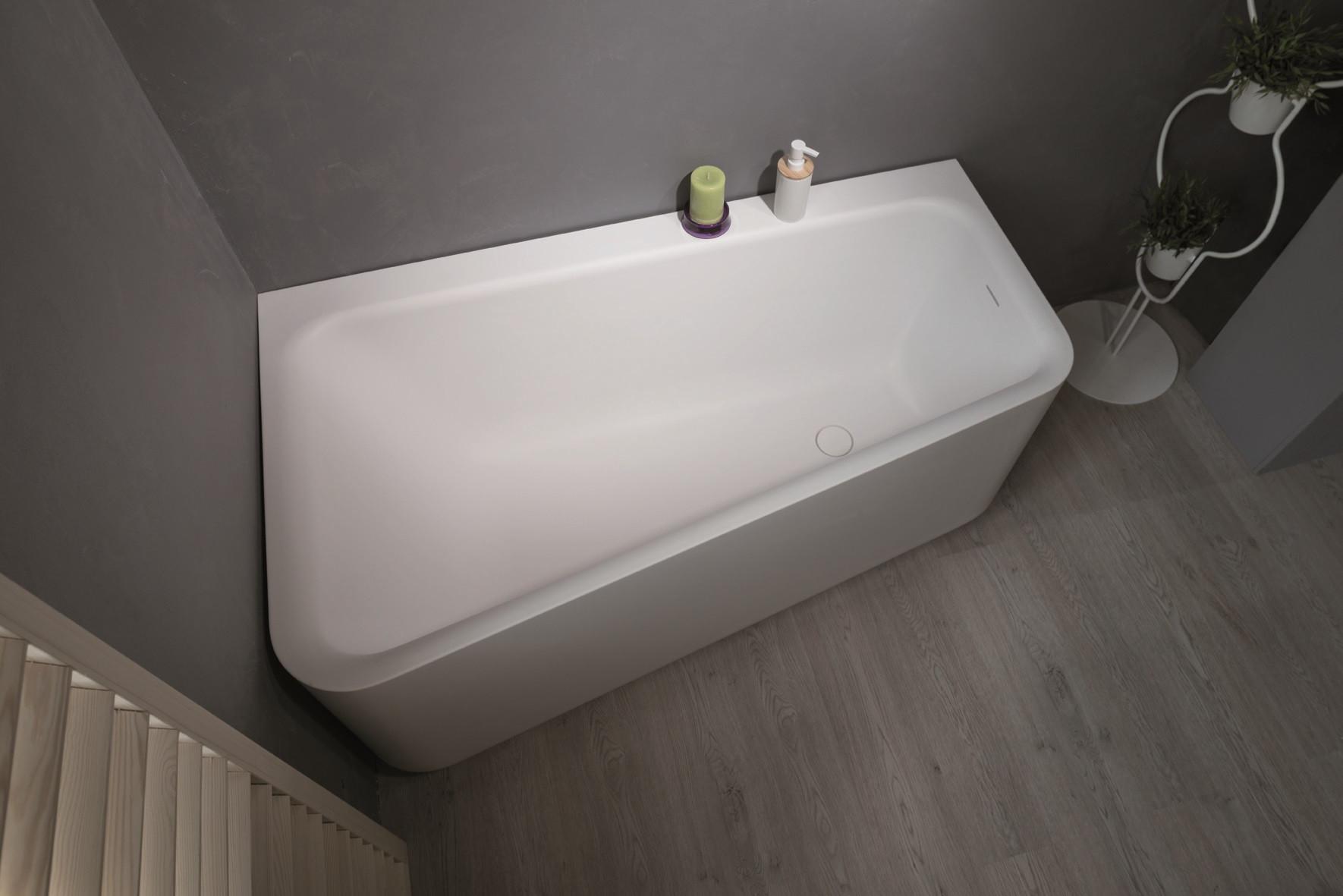 Aquatica Jane-Wht-Std Jane Rectangular Solid Surface Corner Bathtub In White