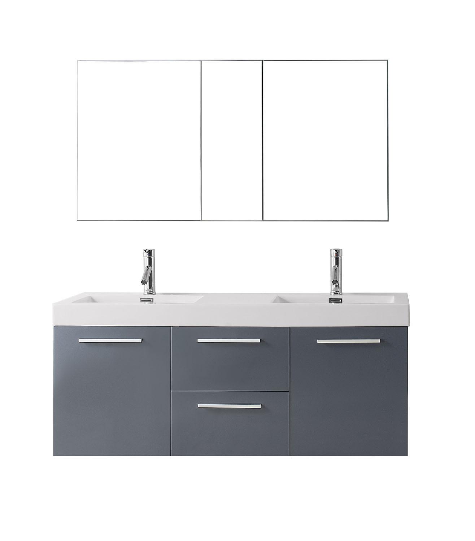 Virtu JD-50154-GR-001 Midori 54 Inch Double Bathroom Vanity Set In Grey