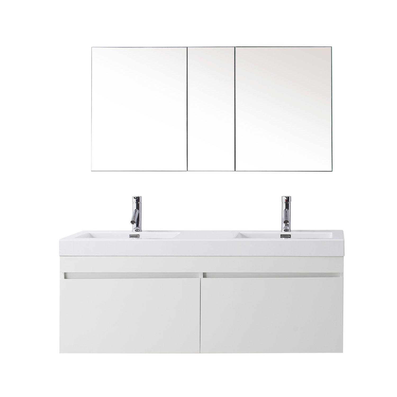 Virtu JD-50355-GW-001 Zuri 55 Inch Double Bathroom Vanity Set In Gloss White