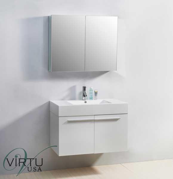 "Virtu USA JS-50136-GW 36"" Midori - Gloss White - Single Sink Bathroom Vanity"
